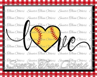 Softball SVG love Softball htv Tshirt Design Vinyl  (SVG and DXF Files) Electronic Cutting Machines, Silhouette, Cameo, Cricut, Instant Down