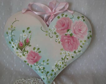 Heart Plaque Hand Painted Pink Roses Cottage chic home wall Aqua decor