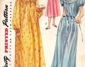 1950s Simplicity 4140 Vintage Sewing Pattern Misses Long Nightgown, Short Nightgown Size 12 Bust 30, Size 14 Bust 32