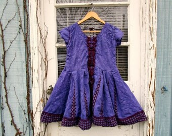 Hand Dyed Deep Purple Embroidered Babydoll Tunic Top// Large// Upcycled Cotton// Spring Summer// emmevielle