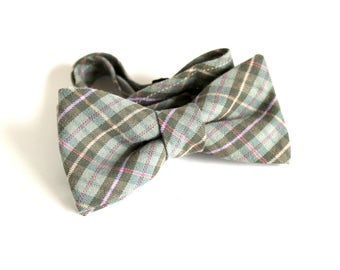 Green Bow Tie -  Pre-tied Plaid Bow Tie - Men's Bow Ties  - Bow Ties - Bowties for Men - Men's bow ties - Bow Ties - Father Son Bow Ties