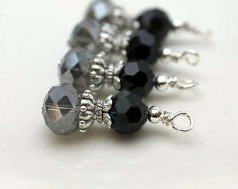 Charcoal Gray Mirror Rondelle and Black Round Crystals Bead Earring Dangle Pendant Charm Drop Set