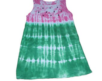 Watermelon Dress in Hot Pink and Green Tie Dye- Girls Watermelon Dress-Tie Dye Dress