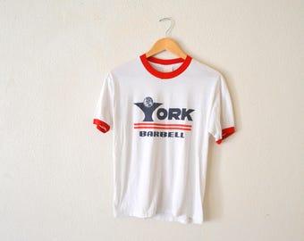 """1980's """"York Barbell"""" Ringer Tee"""