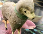 Antique German Putz Wooly Stick Leg Sheep  lamb figure decoration toy  wool  made in Germany german
