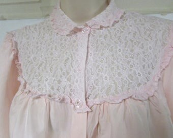 Vintage 40s pink nylon bed jacket by Nora Gottleib with lace trim small