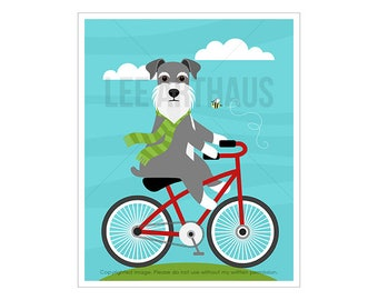 246D Dog Print - Schnauzer Dog on Red Bicycle Wall Art - Dog Illustration - Bicycle Art - Schnauzer Wall Art - Schnauzer Print - Red Bicycle
