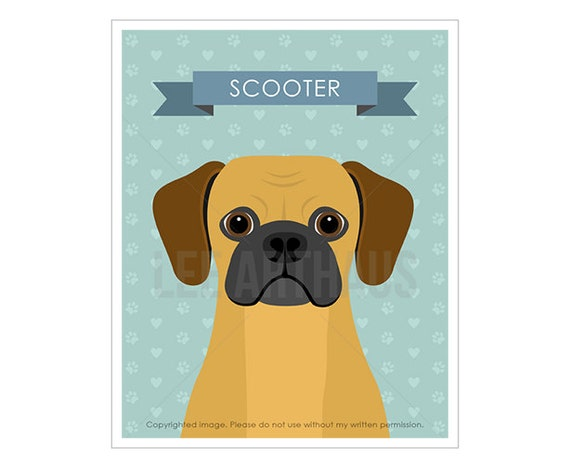 16N Personalized Pet Print - Personalized Puggle Dog Wall Art - Custom Name Dog Portrait - Puggle Puppy Print - Puggle Print - Kids Wall Art