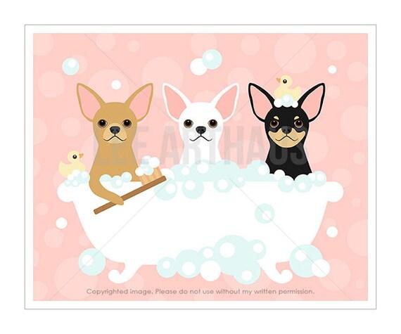 58F Animal Wall Art - Three Chihuahuas in Bathtub Wall Art - Pink Bath Wall Decor - Chihuahua Print - Dog Art Prints - Bathroom Art Prints