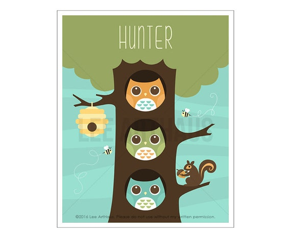 113P Owl Wall Art - Personalized Three Owls in Tree Wall Art - Custom Name Wall Art - Owl Print - Baby Boy Woodland Nursery Wall Art