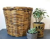 large rattan basket - plant basket - laundry basket - wastepaper basket