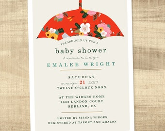 Vintage Umbrella Baby Shower Invitation, Floral Baby Shower Invite, Baby Girl Shower Invitation, Printable shower invitation - Umbrella