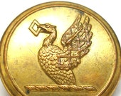"Antique British Livery BUTTON, Victorian eagle, bird of prey, brass button 1"", made in London."