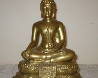 Brass Buddha Figure Statue Vintage Antique Tibetan Hindu Oriental