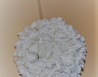 "12"" D  Kissing Ball White Open Rose silk flower Wedding Decoration Pomander Ball"