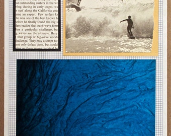Original Collage: Surfing Summer Beach Ocean