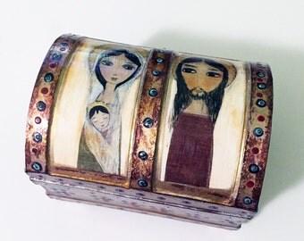 Sacred Family -  Treasure Art - Jewelry Chest Box  Folk Art FLOR LARIOS