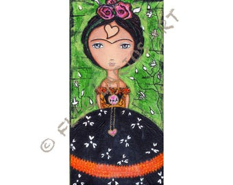 Reserved Listing for Fran - Frida - Thinking of Love  - Print from Folk Art  Painting (5 x 10 inches PRINT) by FLOR LARIOS