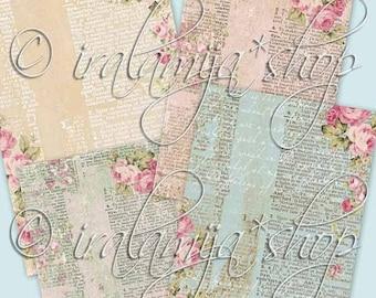 SALE VINTAGE SCRIPT Collage Digital Images -printable download file-