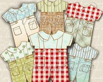SALE VINTAGE BOY No. 1 Collage Digital Images -printable download file Scrapbook Printable Sheet
