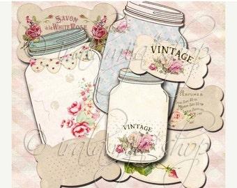SALE BIG JARS & Labels Collage Digital Images -printable download file Scrapbook Printable Sheet