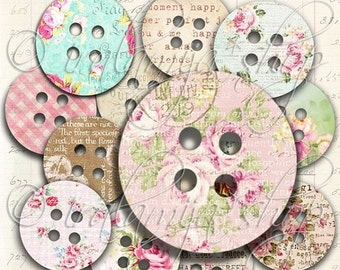 SALE SHABBY BUTTON Collage Digital Images -printable download file-