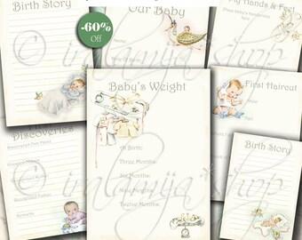 SALE BABY  ALBUM collage Digital Images -printable download file- Baby/Vintage papers Album/Baby Papers/Vintage Baby Book/Baby Album /Baby