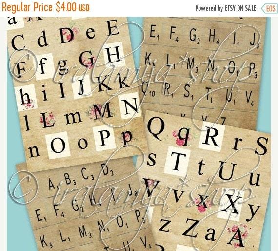 SALE LETTERS alphabet Collage Digital Images -printable download file Digital Collage Sheet Vintage Paper Scrapbook