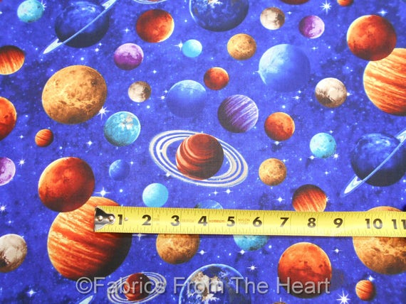 Solar system planets stars space across the universe by for Fabric planets solar system