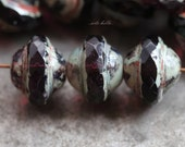 AMETHYST BLISS .. NEW 10 Picasso Czech Glass Saturn Beads 8x10mm (5603-10)