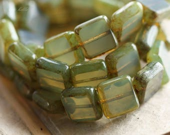 SAGE SQUARES .. NEW 15 Premium Picasso Czech Glass Square Beads 11mm (B1002-15)