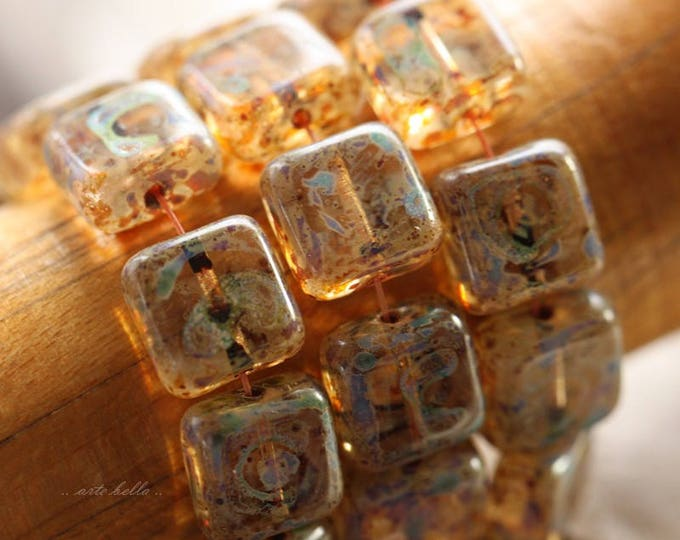 MOTTLED .. 15 Czech Picasso Glass Square Beads 8.5mm (B1011-15)