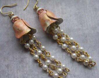 Tulip Earrings, Pink Flower Earrings, Rosary Chain Jewelry, Tassel Earrings, Long Dangle Earrings, Vintage Assemblage Jewelry