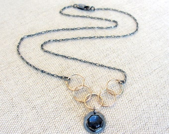 Interlocking Labradorite Necklace in Sterling Silver with Gold Links