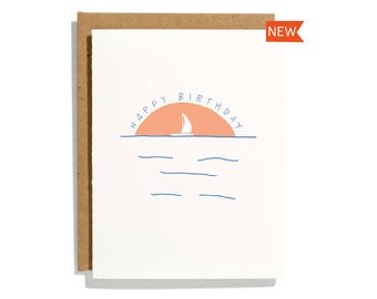 Sailboat Birthday - Letterpress Birthday Card - CB281