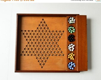 Sale Vintage Chinese Checker Board Marble Storage Wood Checker Board