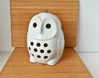 Owl Lantern, Owl Candleholder, Vintage Owl Candleholder, White Owl, Hanging Owl Candleholder