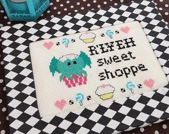 R'Lyeh Sweet Shop Framed Cross Stitch - Cthulhu Mythos  Inspired Ready to Hang Original Pattern HP Lovecraft Fan Art by Glamasaurus