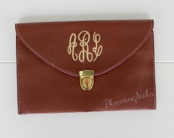 Monogram Clutch Purse, Brown Crossbody Shoulder Bag, Custom Embroidery Personalized Gift, Birthday Gift  SALE