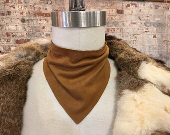 Tan brown ultra suede triangle scarflace scarf choker necklace