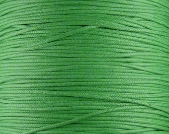 Cotton Wax Cord By the Yard Green 1.5mm thick (1012cor02m1-2)