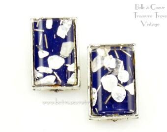 Mod Blue White Silver Confetti Lucite Vintage Earrings