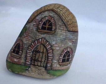LITTLE BRICK HOUSE hand painted rock house for home or garden