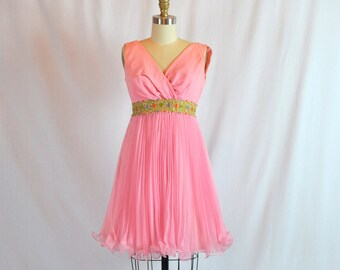 "Vintage 60s Cocktail Dress | 1960s Party Dress | 60s Pink Chiffon Dress | 26"" Waist | Small"