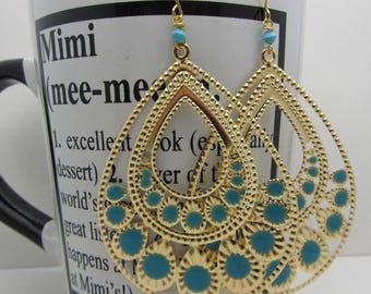 Large Teardrop Earrings Gold and Enamel Turquoise Earrings Dangle Drop Earrings Teardrop SRAJD Handmade