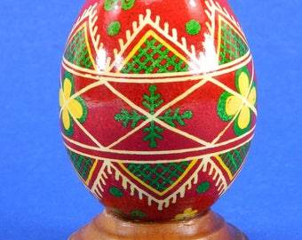 Polish Pysanky Egg Hand Painted Decorated Vintage Easter Blown Out Chicken Egg 20478