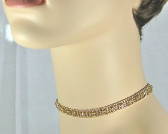 Gold choker necklace, gold and rhinestone necklace, dressy choker necklace