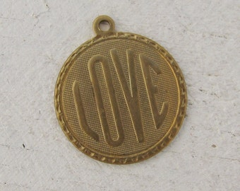 Valintines Love Raw Brass Charms for Bracelets or Necklaces 1498 - 6 Pieces