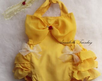 Belle Ruffle Bottom Romper and Headband Set Costume Sizes Newborn to Girls size 6