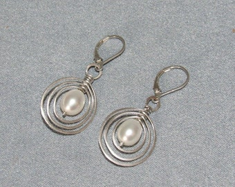Sterling Silver Earrings, Pearl Drops, Hand Hammered and Formed